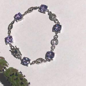 Silver & purple rhinestone bracelet